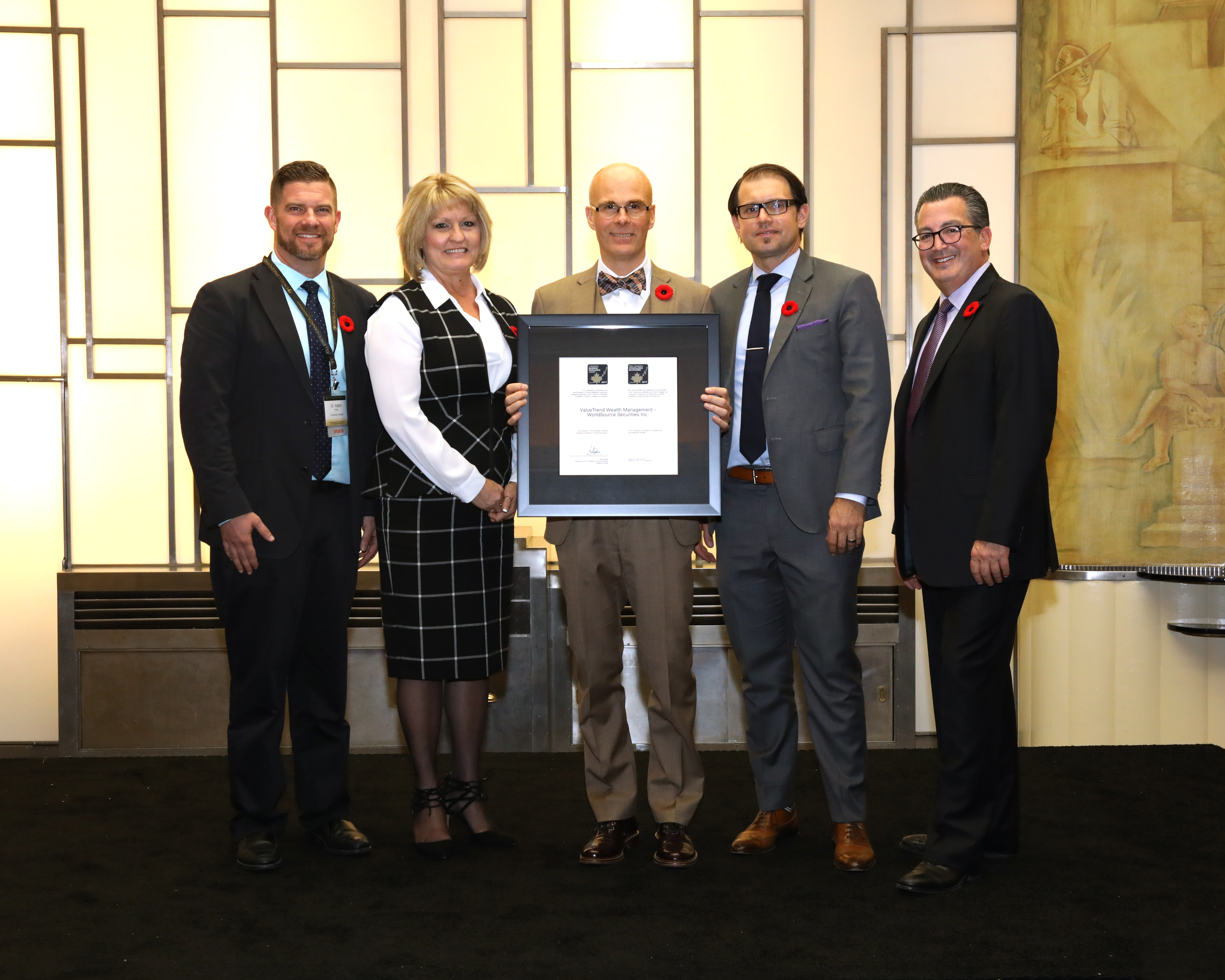 The ValueTrend Wealth Management team shown receiving the 2017 Canadian Business Excellence Award