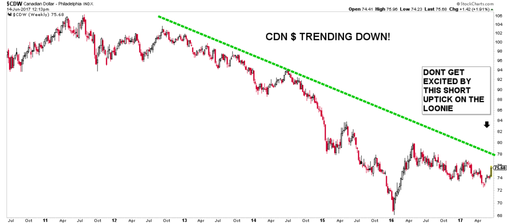 Chart showing long-term downtrend of Canadian Loonie