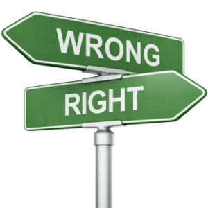 "3d rendering of signs with ""WRONG"" and ""RIGHT"" pointing in opposite directions"